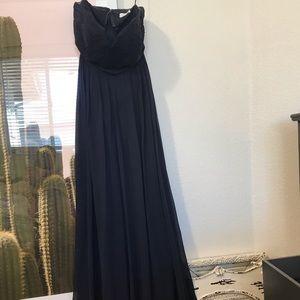Navy blue j crew size 6 maxi bridesmaids dress